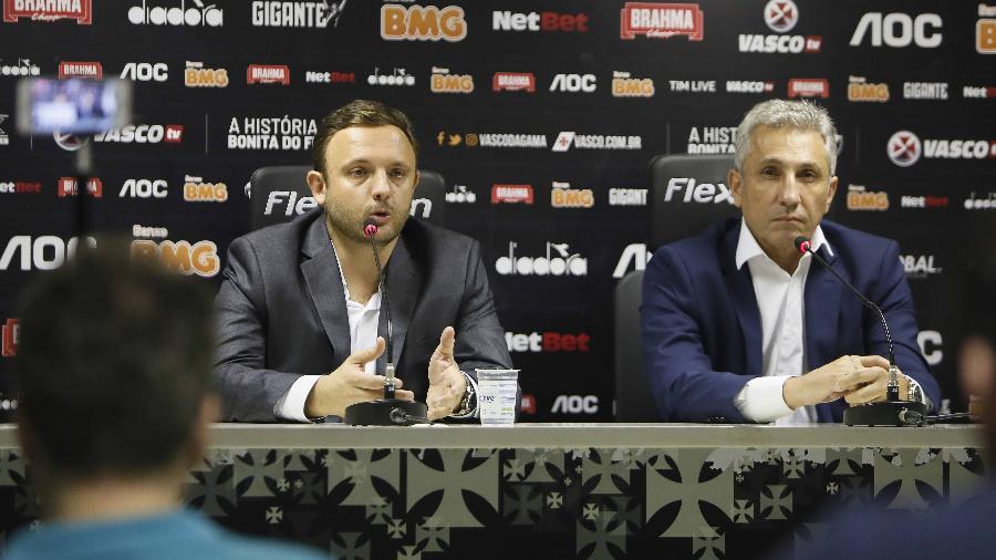 Novo diretor executivo, André Mazzuco (e) terá a missão de reforçar elenco junto com o presidente Campello (d)
