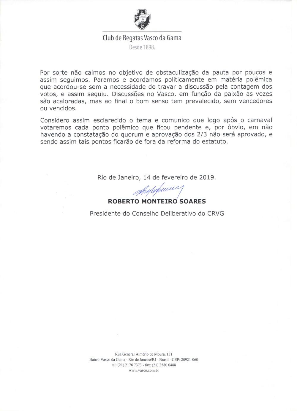 Nota oficial de Roberto Monteiro