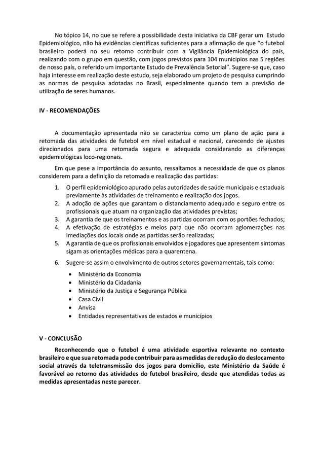 Confira parecer do Ministério da Saúde que se diz favorável ao retorno do futebol
