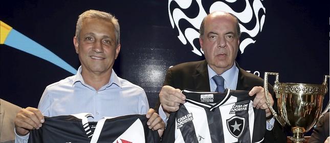 Alexandre Campello, presidente do Vasco, e Nelson Mufarrej, presidente do Botafogo