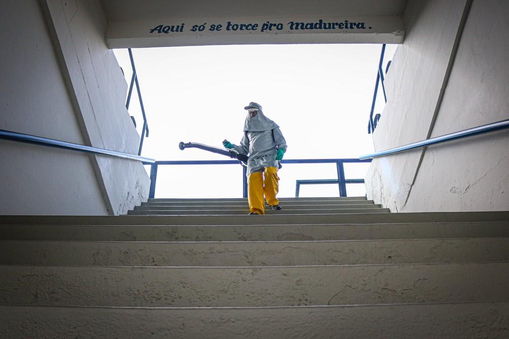 Madureira realiza a sanitização do Estádio Conselheiro Galvão