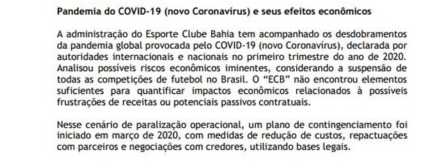 Até março Bahia ainda não tinha notícia de