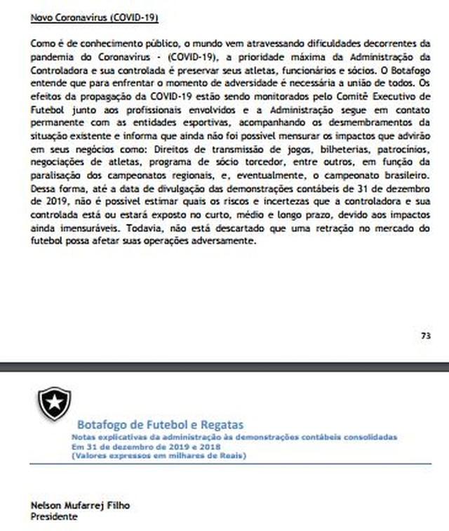 Mufarrej assina o texto que considerava prejuízos ao Botafogo com o prolongamento da pandemia