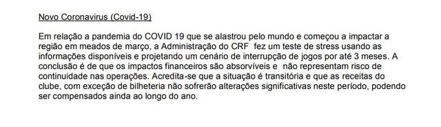 Em primeira análise, o Flamengo acreditava ser possível passar sem grandes efeitos pela crise