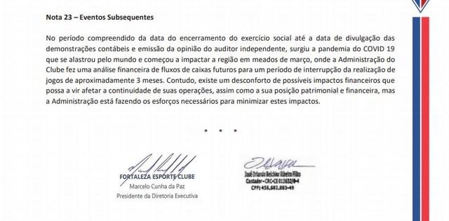 A carta assinada pelo presidente do Fortaleza, Marcelo Paz, reconhecia