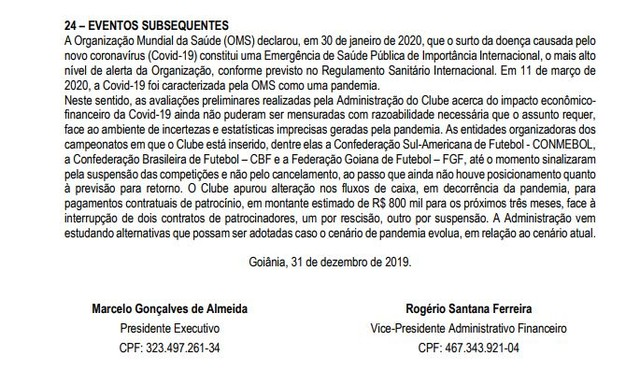 O Goiás já previa menos R$ 800 mil por perda de patrocinadores
