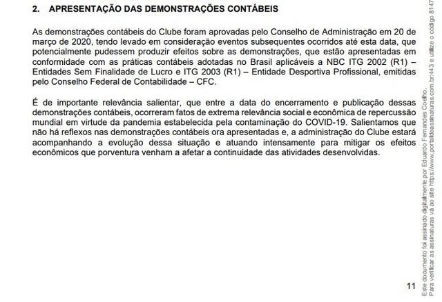 O balanço do Grêmio observava que