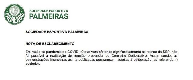 O clube não ignorou o coronavírus, mas não citou possíveis impactos nas contas