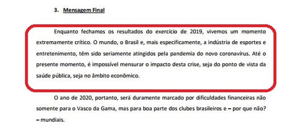 Presidente do Vasco tratava de sérios efeitos na conta do clube e em todo o futebol