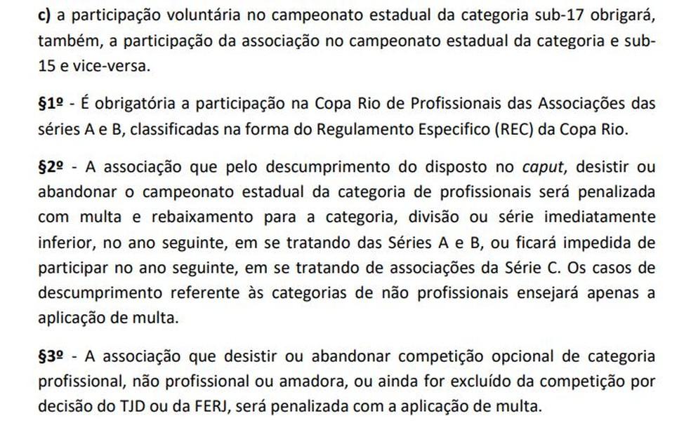 Regulamento geral de competições da Ferj prevê pena severa em caso de abandono