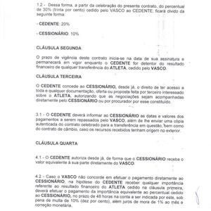 Trecho do suposto contrato de cessão dos 10% dos direitos econômicos de Marrony