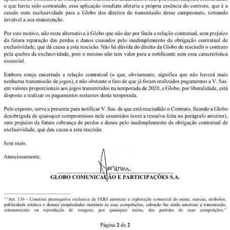 Em notificação com efeito legal, Globo informou que pagaria conta restante do Carioca 2020 a times