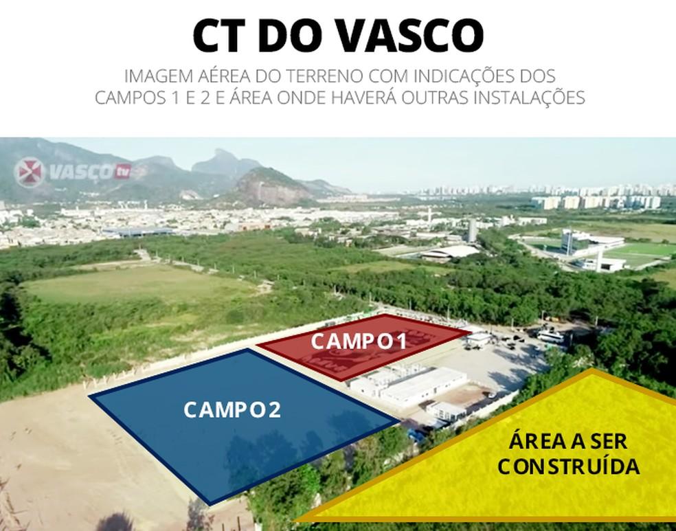 Vista aérea do andamento das obras do novo CT do Vasco