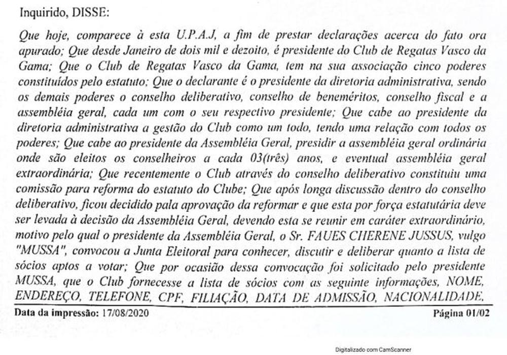 Campello registrou ocorrência na Delegacia de Polícia