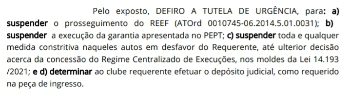 Dispositivo da decisão dada pela presidência do TRT-1 no início da tarde desta quarta-feira